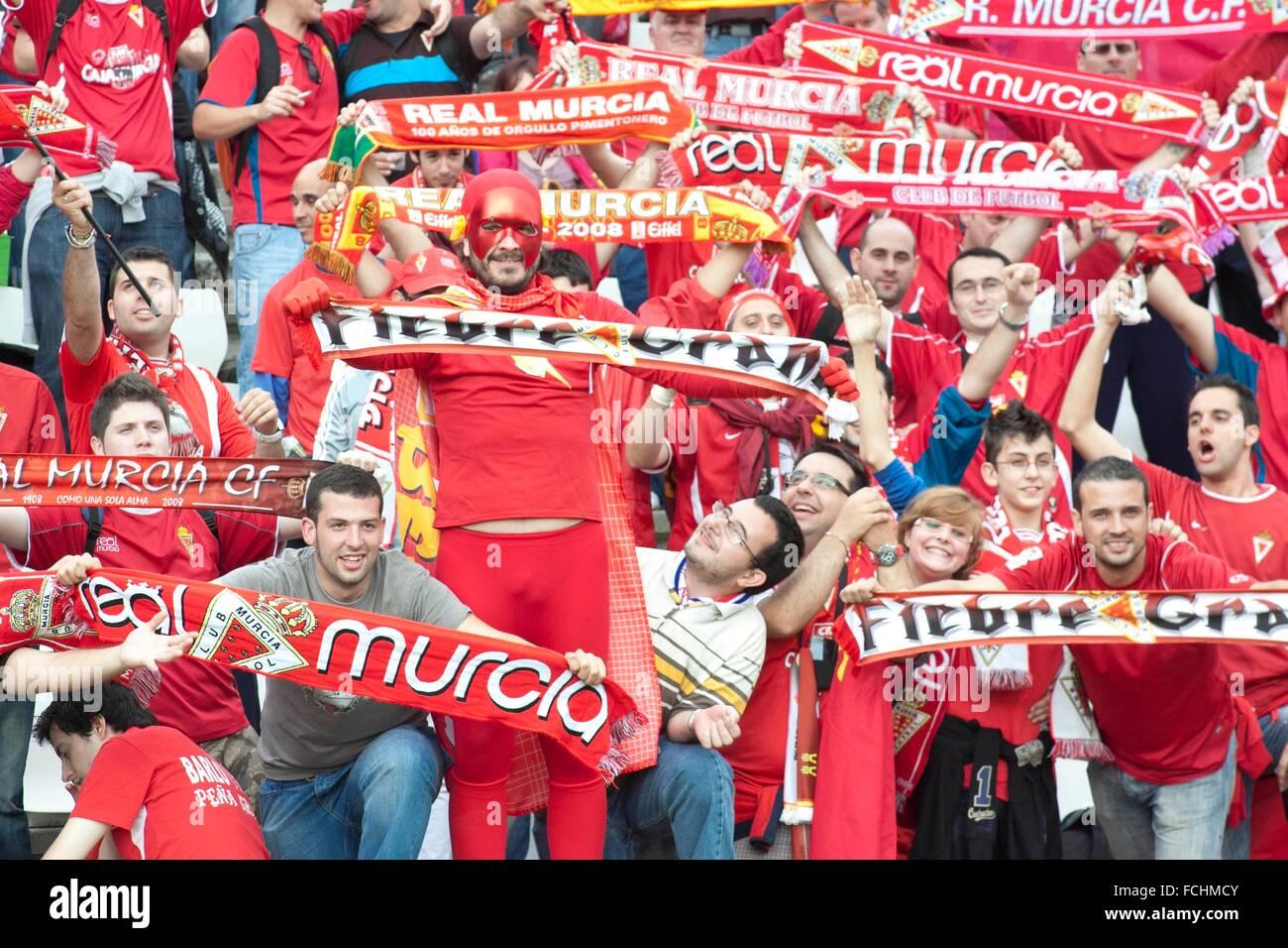 Real Murcia supporters, CD Lugo vs. Real Murcia, Segunda División B, 29/05/2011 - Stock Image