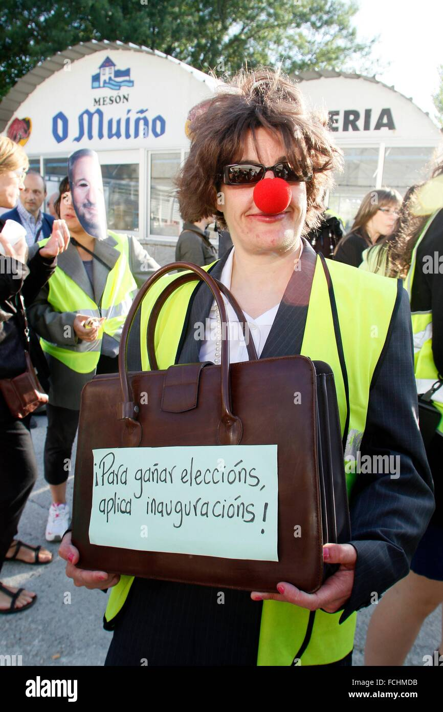 Lugo citizen protest movements against politicians and their specific openings when elections approach - Stock Image