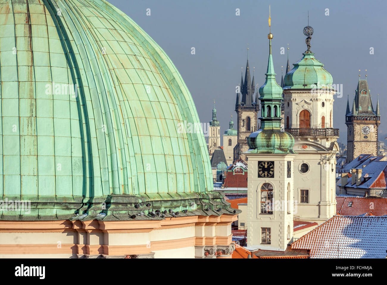 Towers and rooftops of Old Town, Clementinum,  Prague, Czech Republic - Stock Image
