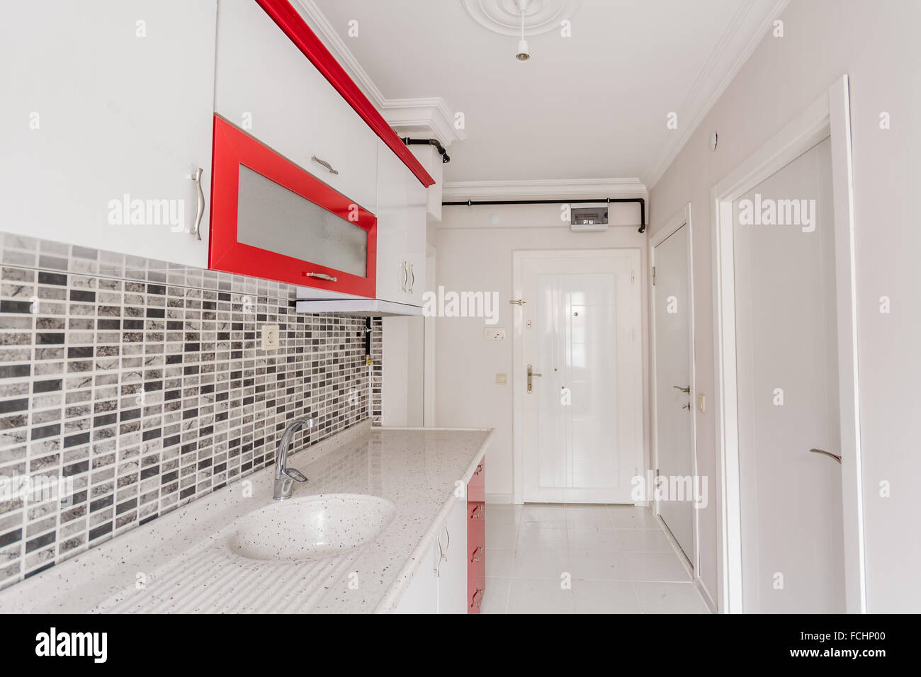 Bright Small Empty Kitchen Of New Apartment With Colours Red And Stock Photo Alamy,Door And Window Design In Sri Lanka