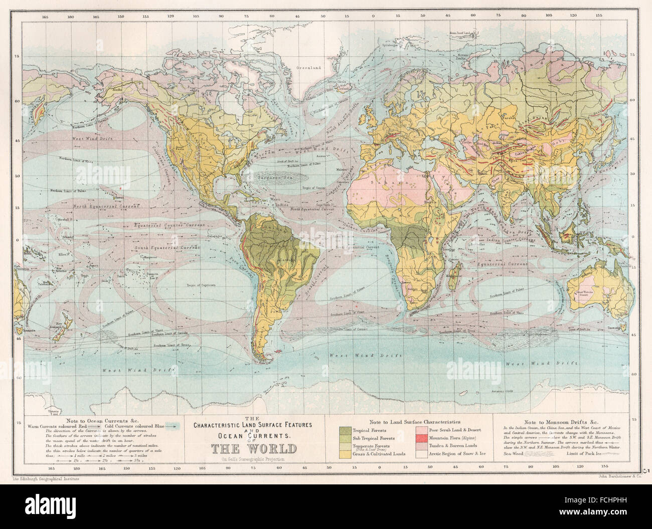 World land surface features ocean currents bartholomew 1891 world land surface features ocean currents bartholomew 1891 antique map gumiabroncs Choice Image