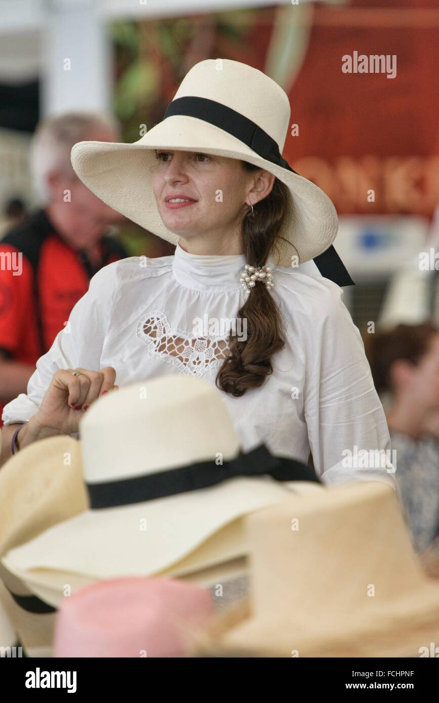 df707fb43e5 Panama hat seller at the King´s Cup Polo Tournament in Bangkok Stock ...