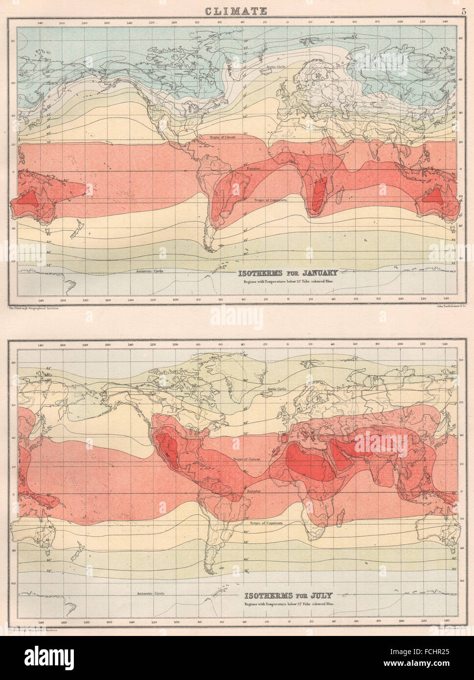 World climate map stock photos world climate map stock images alamy world climate isotherms for january july bartholomew 1891 antique map gumiabroncs Choice Image