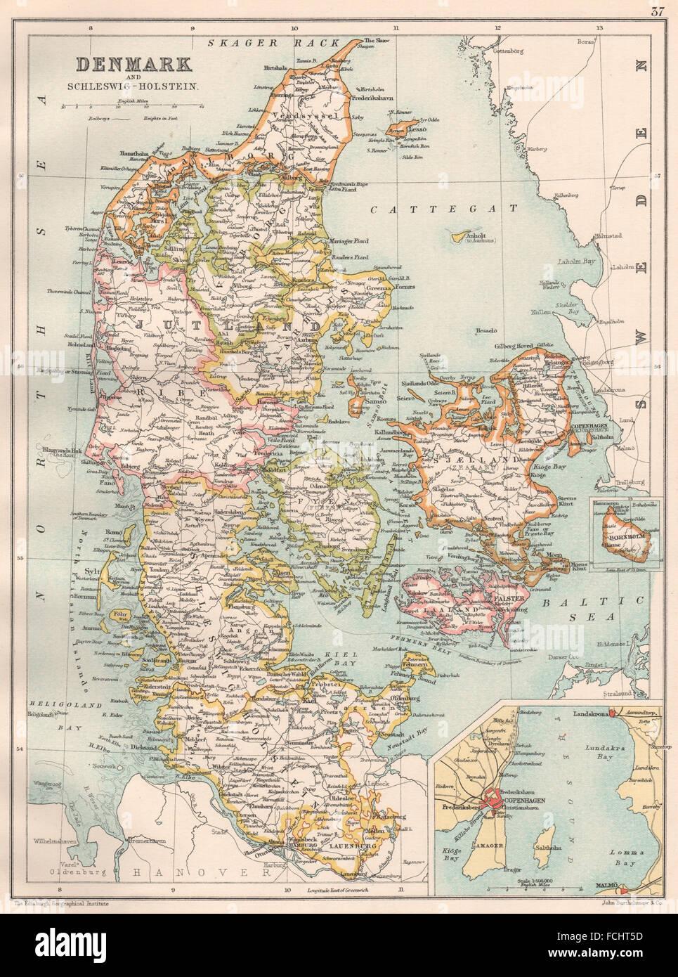 DENMARK:with Schleswig-Holstein;Inset Copenhagen;Bornholm.BARTHOLOMEW, 1891 map - Stock Image