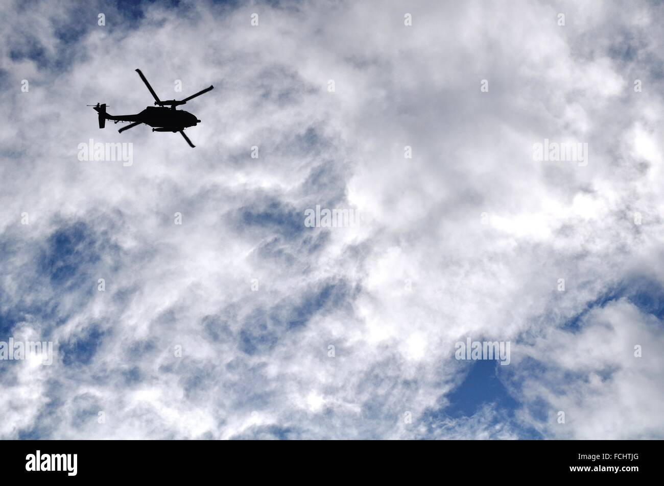 Okinawa, Japan: military helicopter flying on the Kerama Islands - Stock Image