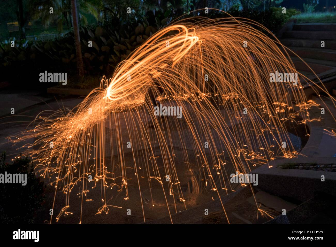 Steel wool spinning, Kuala Lumpur, Malaysia. Stock Photo