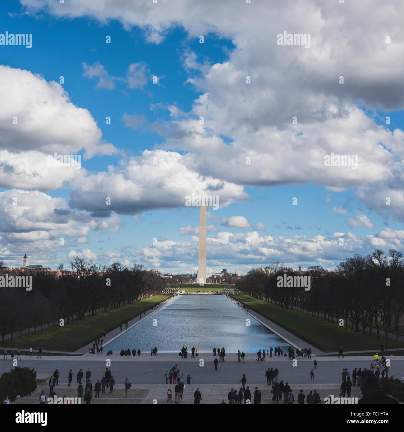Washington Monument and Reflecting Pool - Stock Image