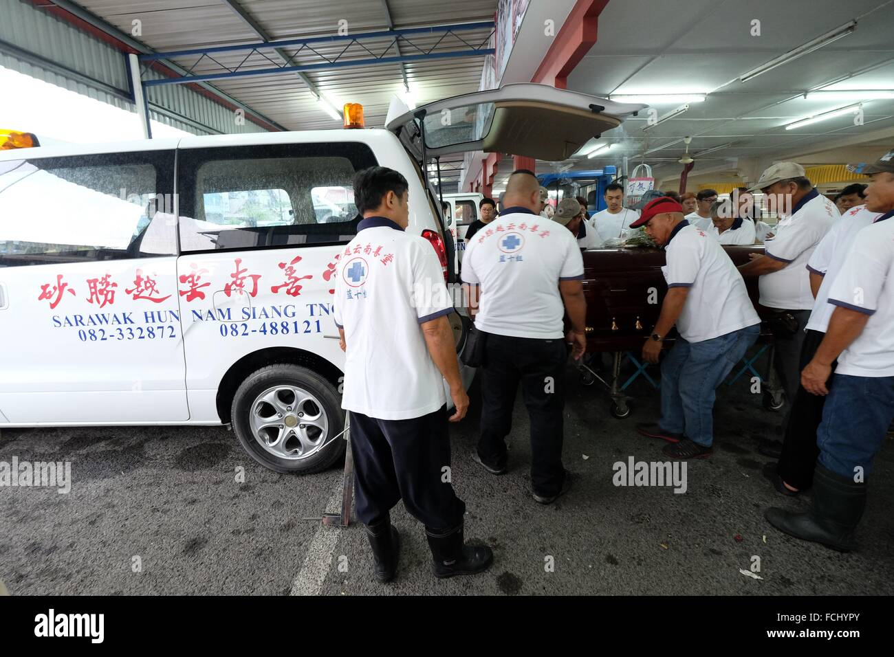 Sending off for burial. Sarawakian chinese funeral ceremony. Malaysia - Stock Image