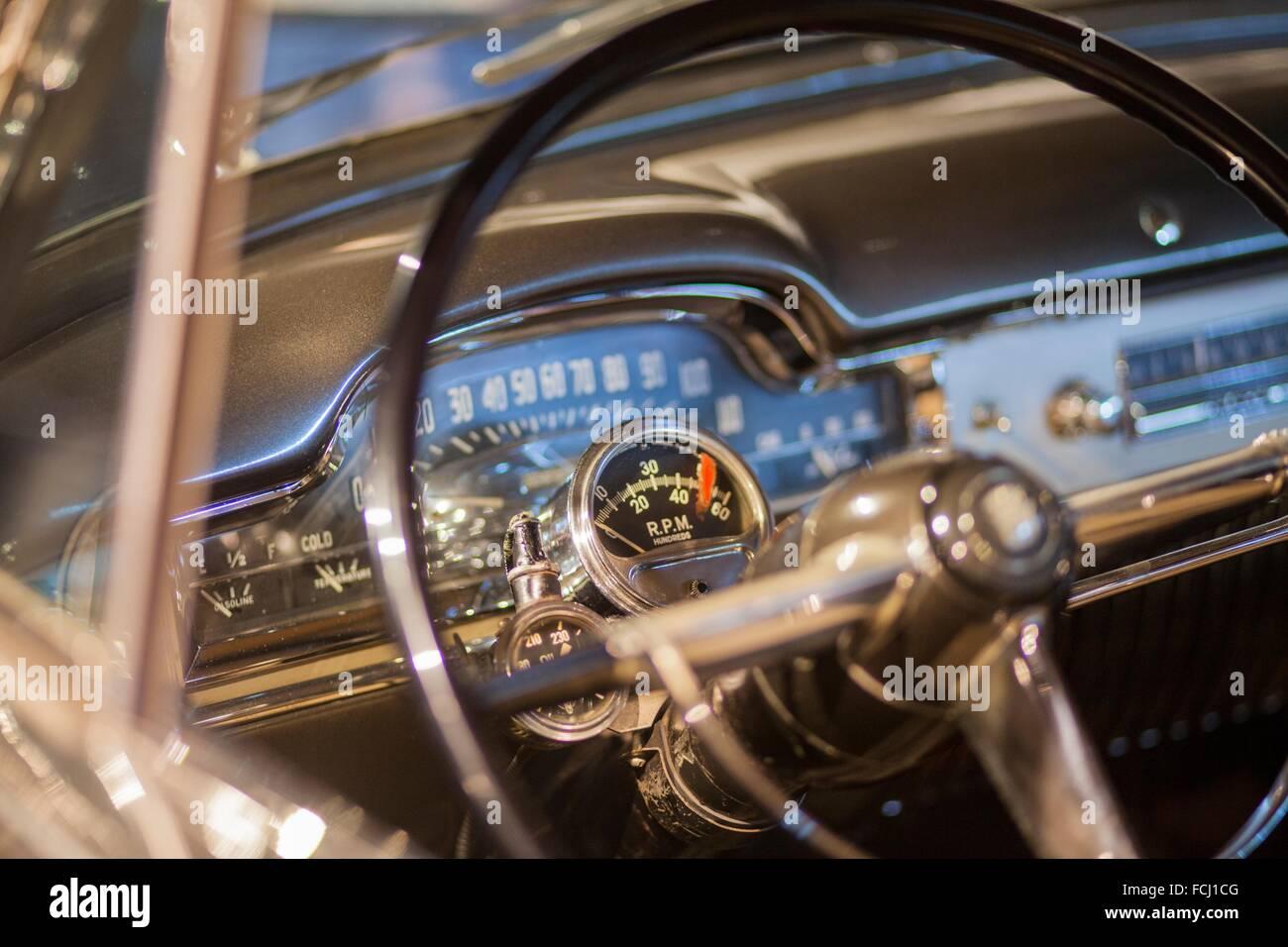 1950 Cadillac dashboard - Stock Image