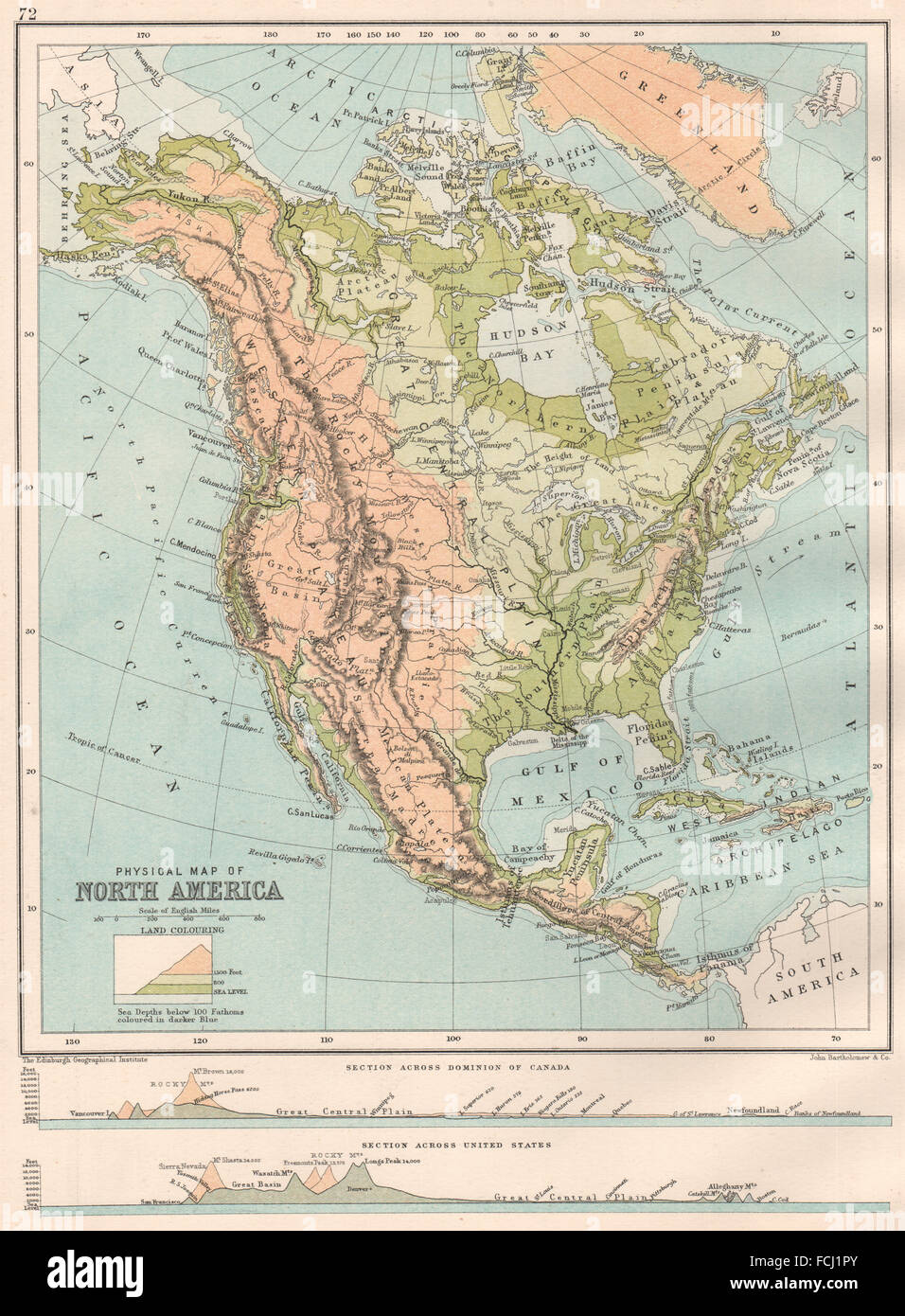 NORTH AMERICA PHYSICAL: Sections across the United States ...