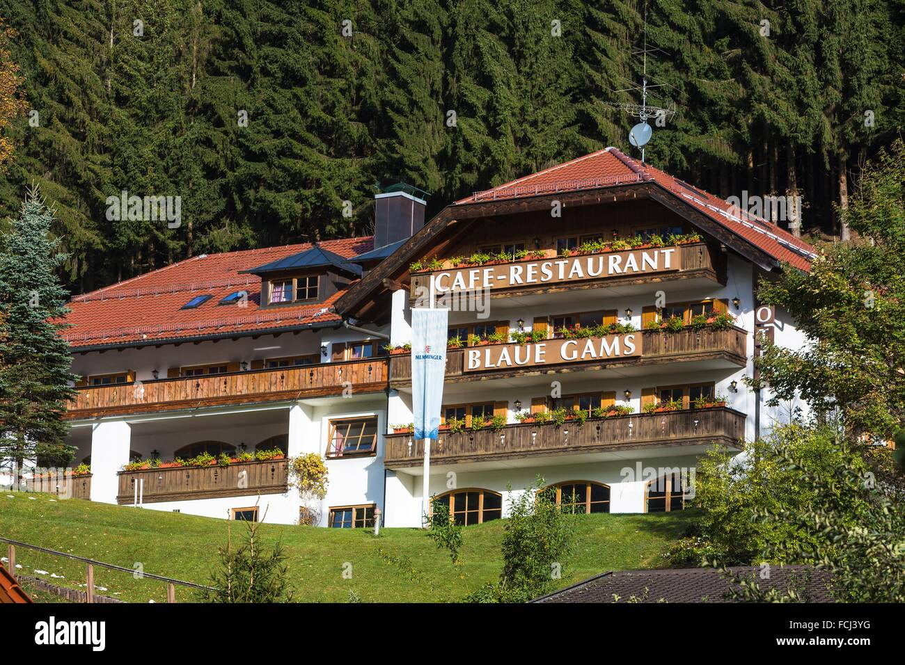Picturesque restaurant ´Blaue Gams´ in Ettal, Bavaria, Germany, Europe - Stock Image