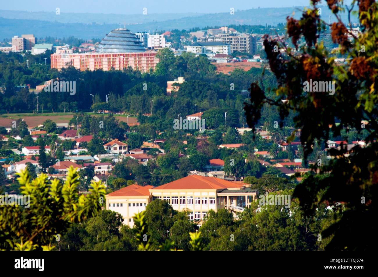 View of southeastern suburbs from KN 7 Avenue, Kigali, Rwanda - Stock Image
