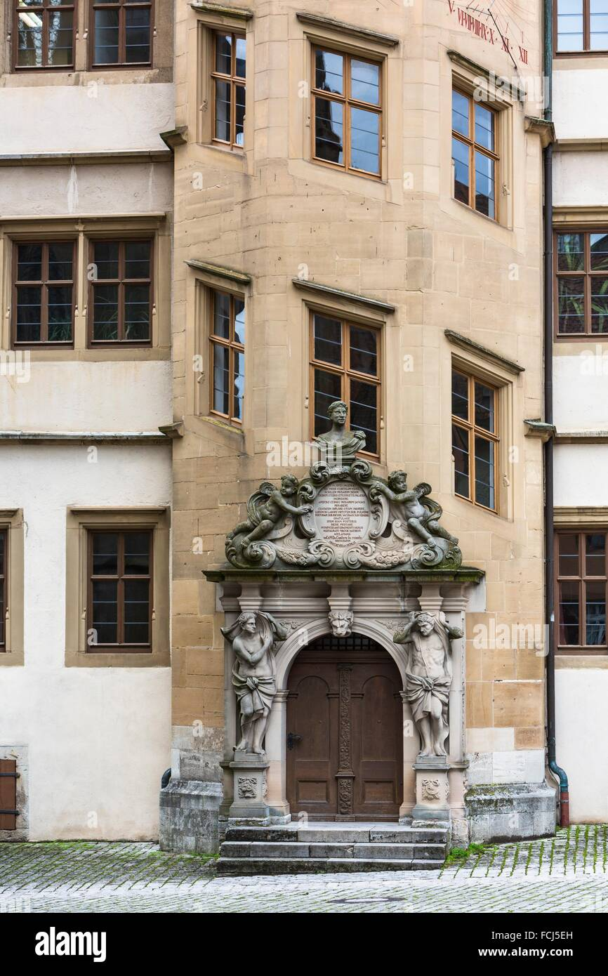 Close up of the eight-sided staircase tower of the Old Grammar School, Rothenburg ob der Tauber, Bavaria, Germany, - Stock Image
