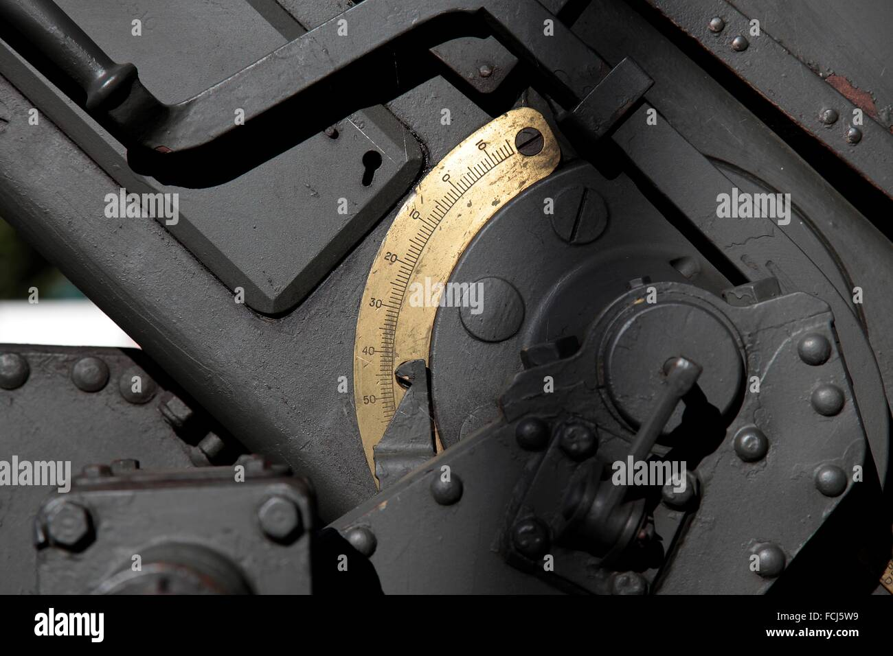 Detail mechanisms of an artillery piece. - Stock Image