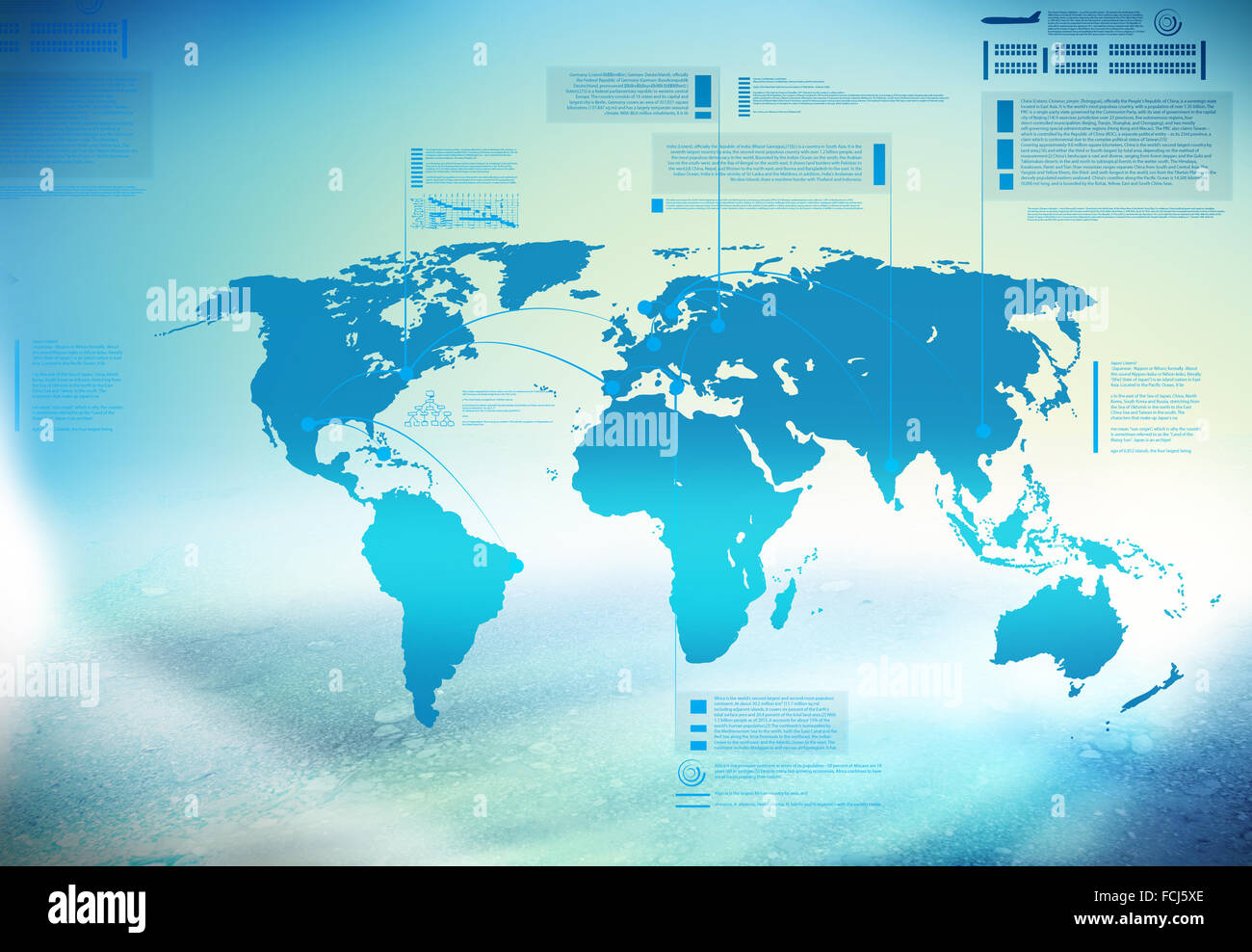 Background conceptual blue image with world map - Stock Image