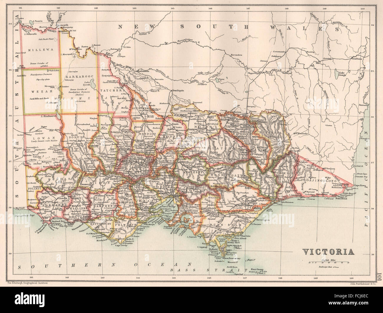 Victoria State Australia Map.Victoria State Map Showing Counties Australia Bartholomew 1891