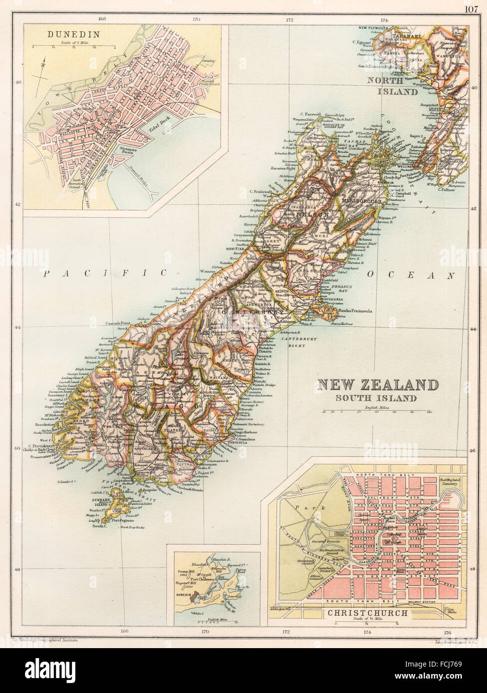 New Zealand South Island Showing Counties Christchurch Dunedin