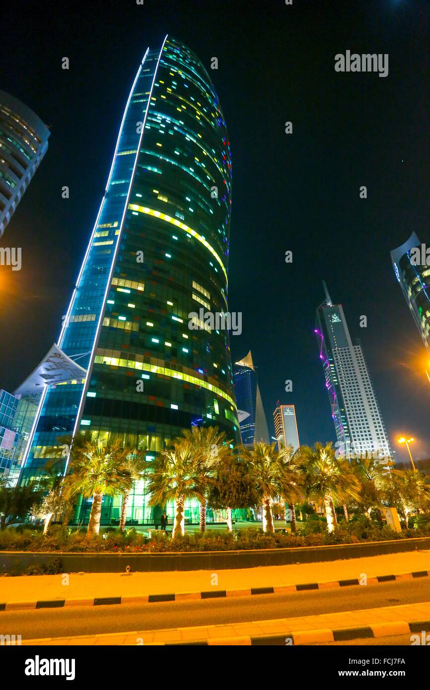 Modern Skyscraper, kuwait city, Sharq area of Downtown at night Stock Photo