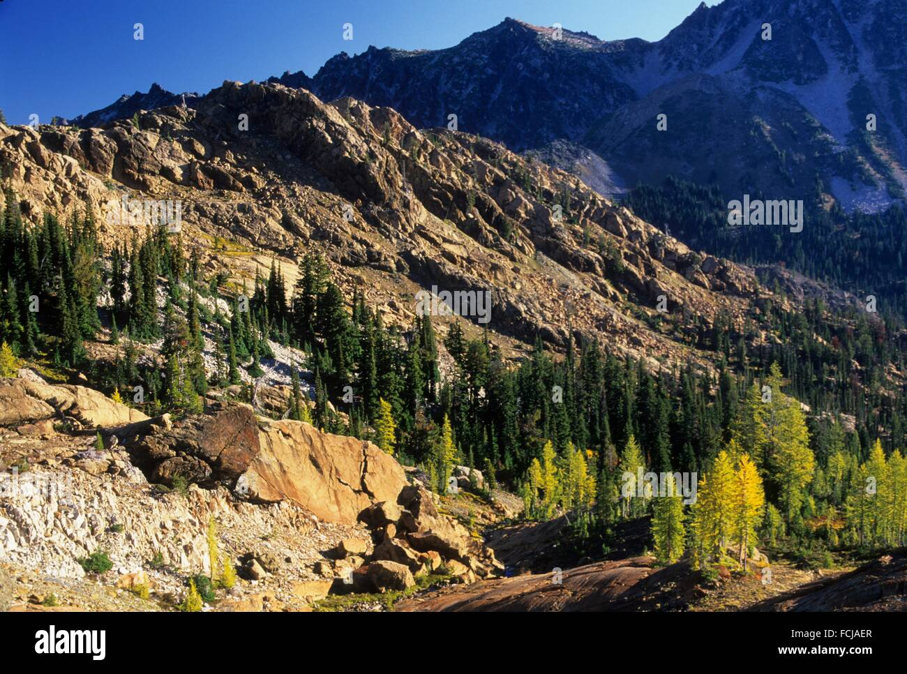 Ingalls Creek headwaters view, Alpine Lakes Wilderness, Wenatchee National Forest, Washington. - Stock Image