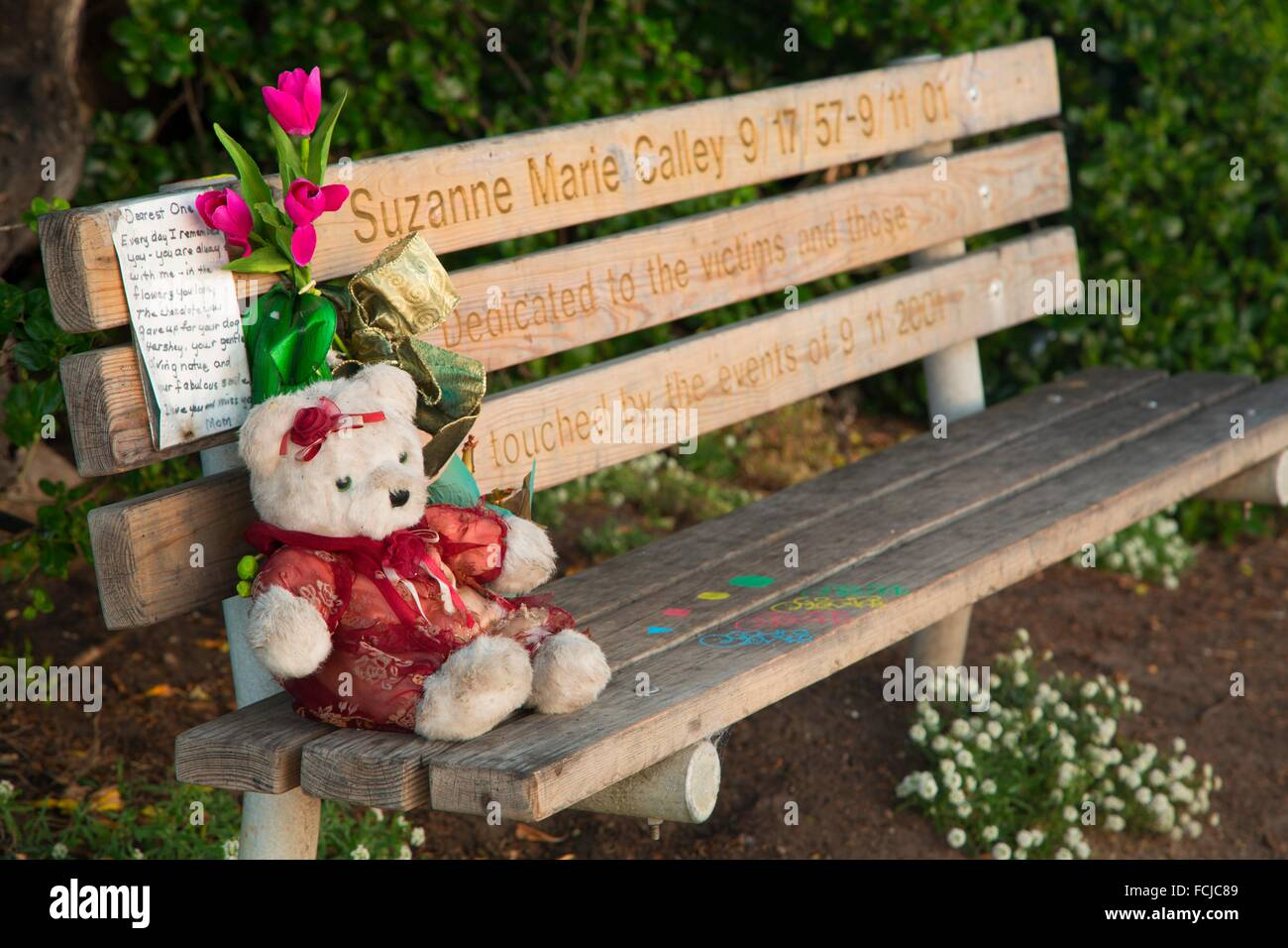 911 Memorial bench, Lovers Point Park, Pacific Grove, California. - Stock Image