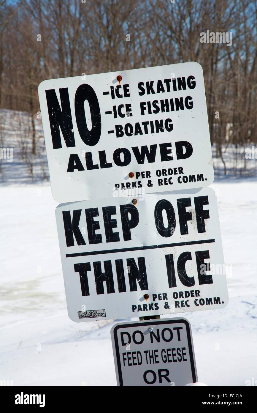 Thin ice sign, AW Stanley Park, New Britain , Connecticut. - Stock Image