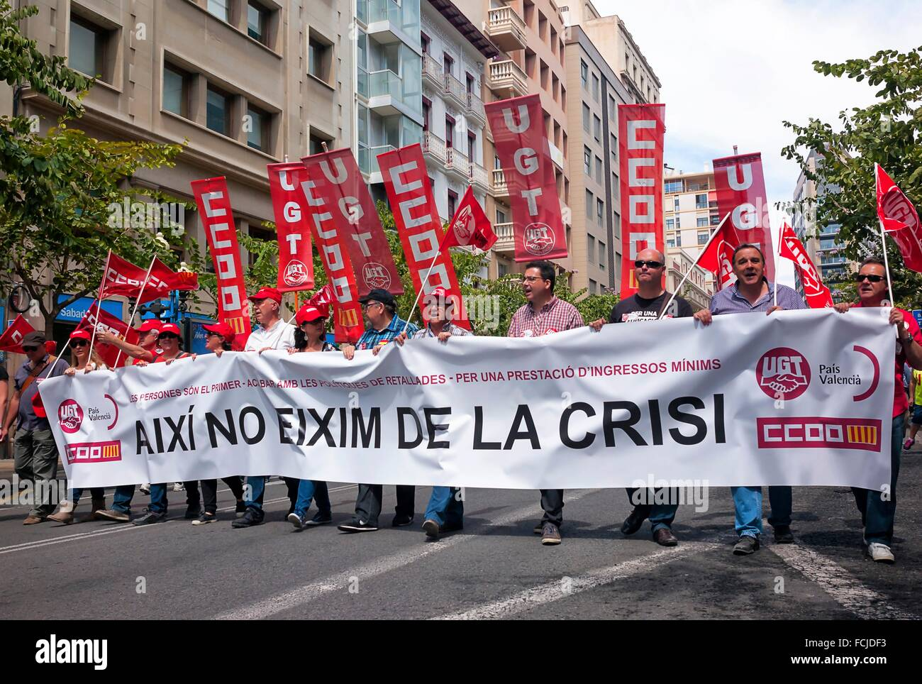 -Demonstration Against Cut´s Politic of Mariano Rajoy (Popular Party)- Alicante 1st of May (Spain). - Stock Image