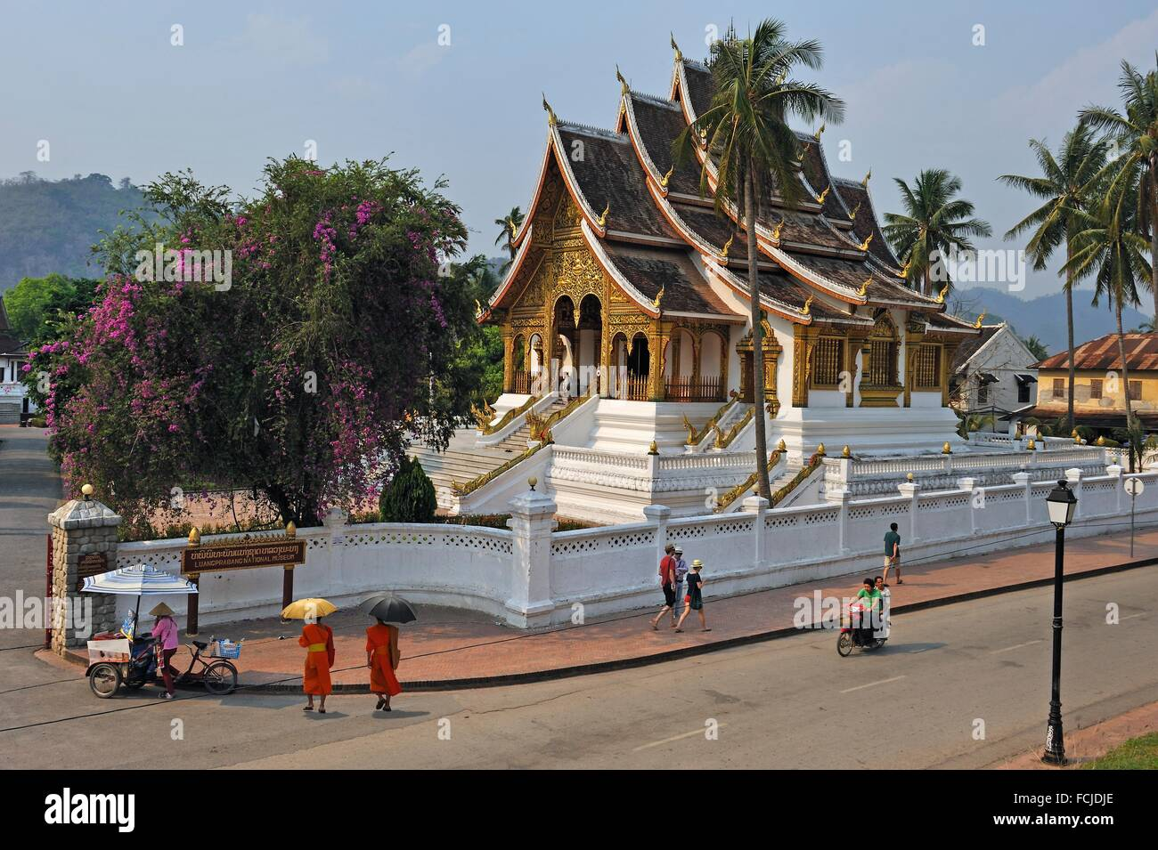 Haw Pha Bang temple built on the grounds of the Royal Palace Museum to enshrine the Phra Bang Buddha, the most highly - Stock Image