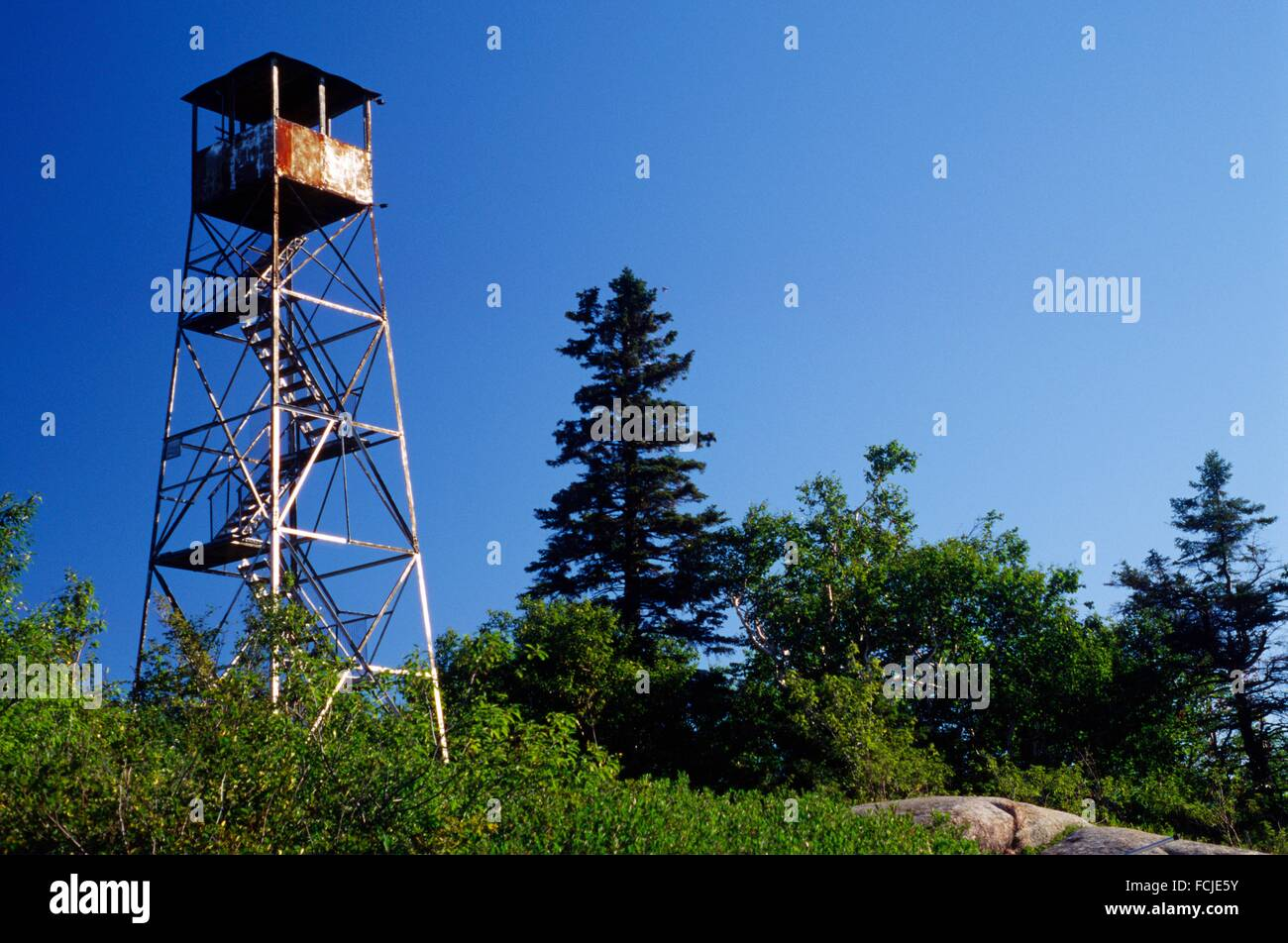 Lookout on Poke-O-Moonshine Mountain, Adirondack Park, New York. Stock Photo