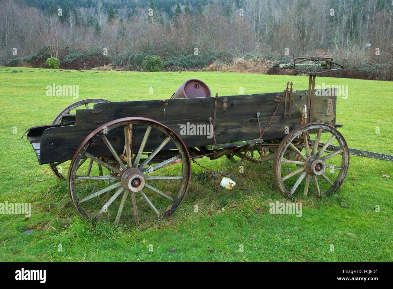 Wagon, Millpond Park, Eatonville, Washington. - Stock Image