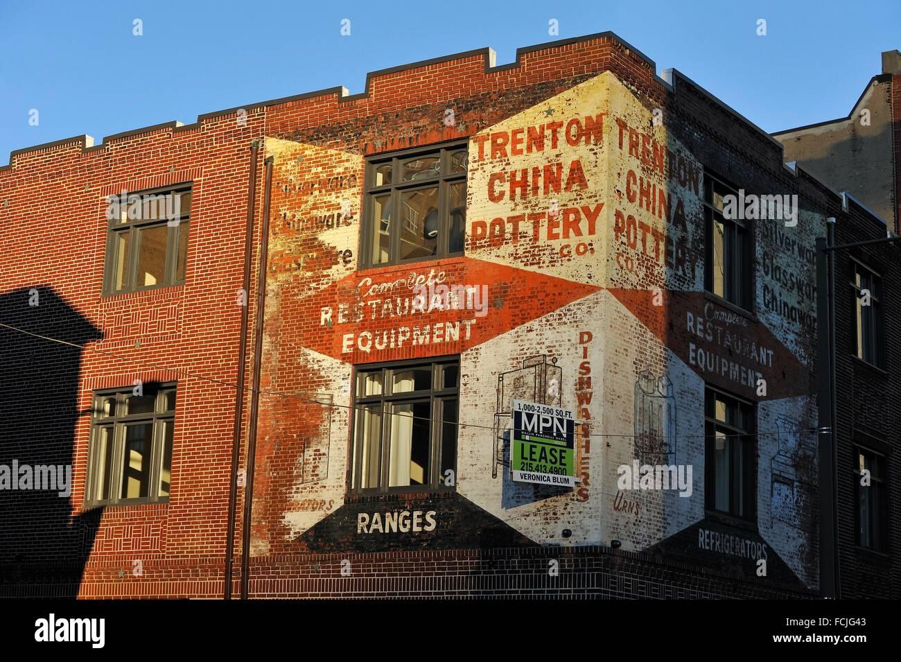 old hand-painted advertising signage, Philadelphia, Commonwealth of Pennsylvania, Northeastern United States,. - Stock Image