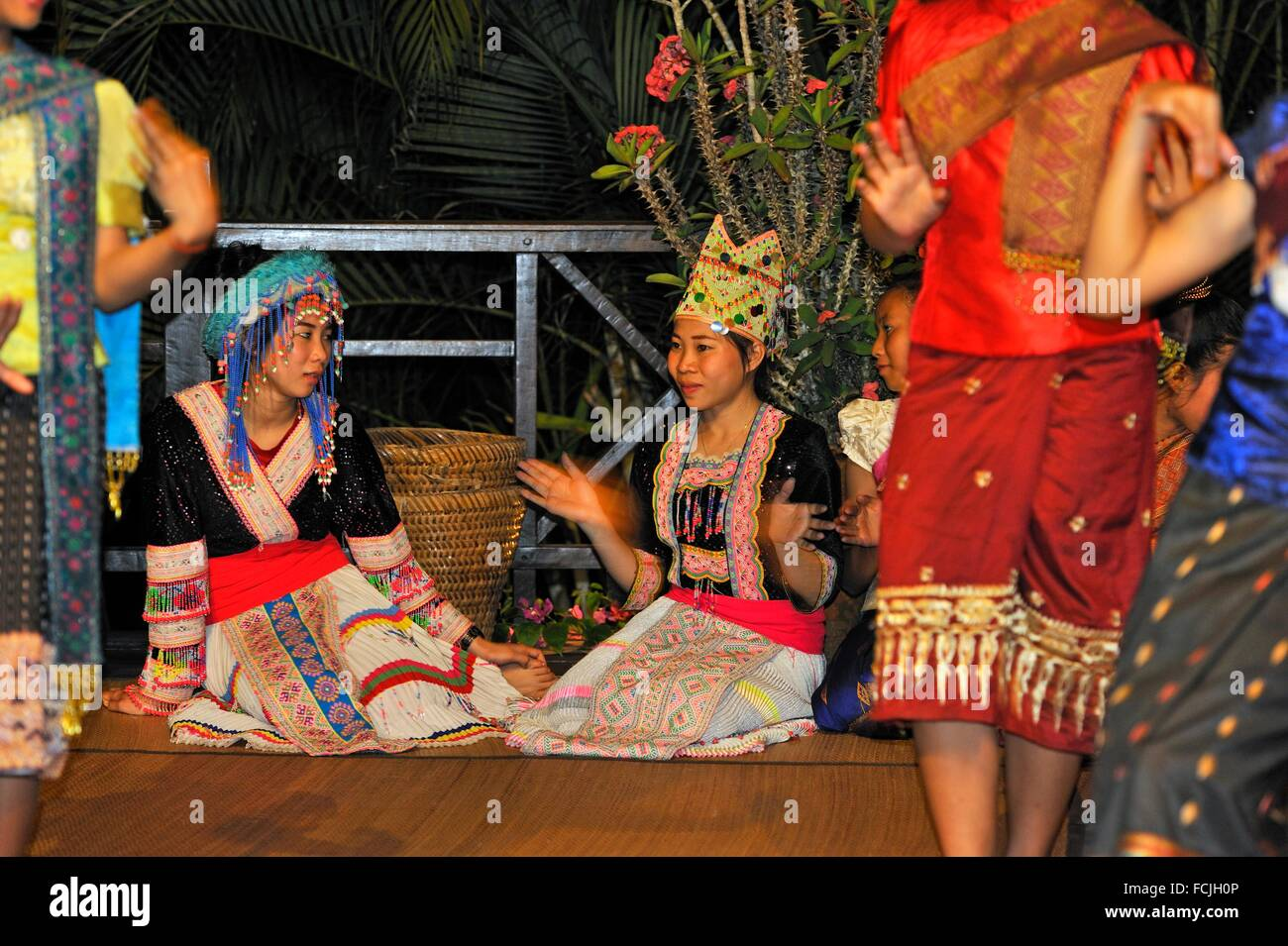 traditional folk dance show at Luang Say Lodge on the Mekong river bank, Pakbeng, Oudomxay Province, Laos, Southeast - Stock Image