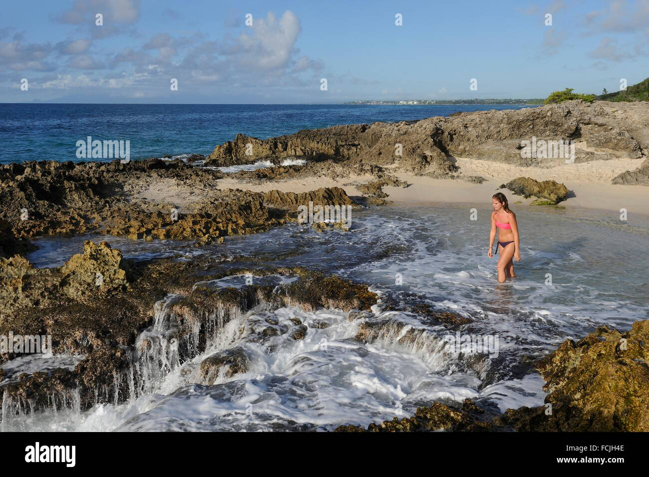 beach at Pointe des Chateaux, Grande-Terre, Guadeloupe, overseas region of France, Leewards Islands, Lesser Antilles, - Stock Image