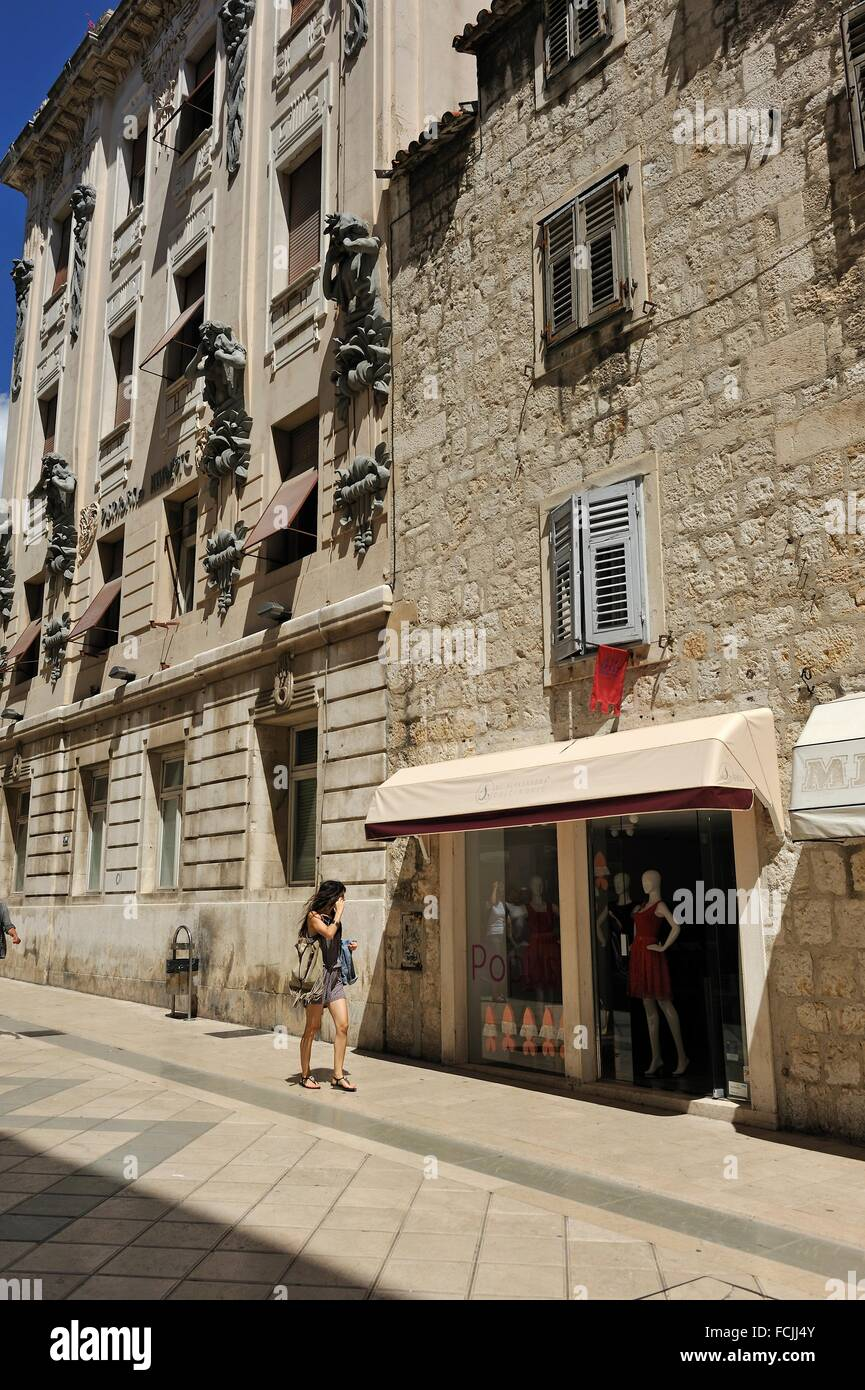 Secession style building in Marmont Street, Old Town, Split, Croatia, Southeast Europe. - Stock Image