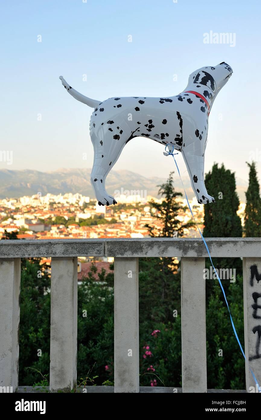 inflatable plastic Dalmatian dog, Marjane Hill viewpoint, Split, Croatia, Southeast Europe. - Stock Image