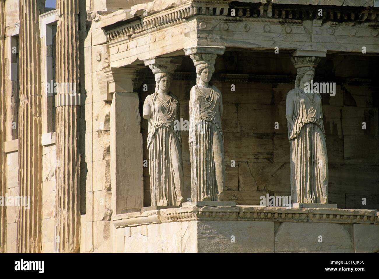 Caryatid of the Erechtheum, Acropolis, Athens, Attica region, Greece, Southern Europe. - Stock Image