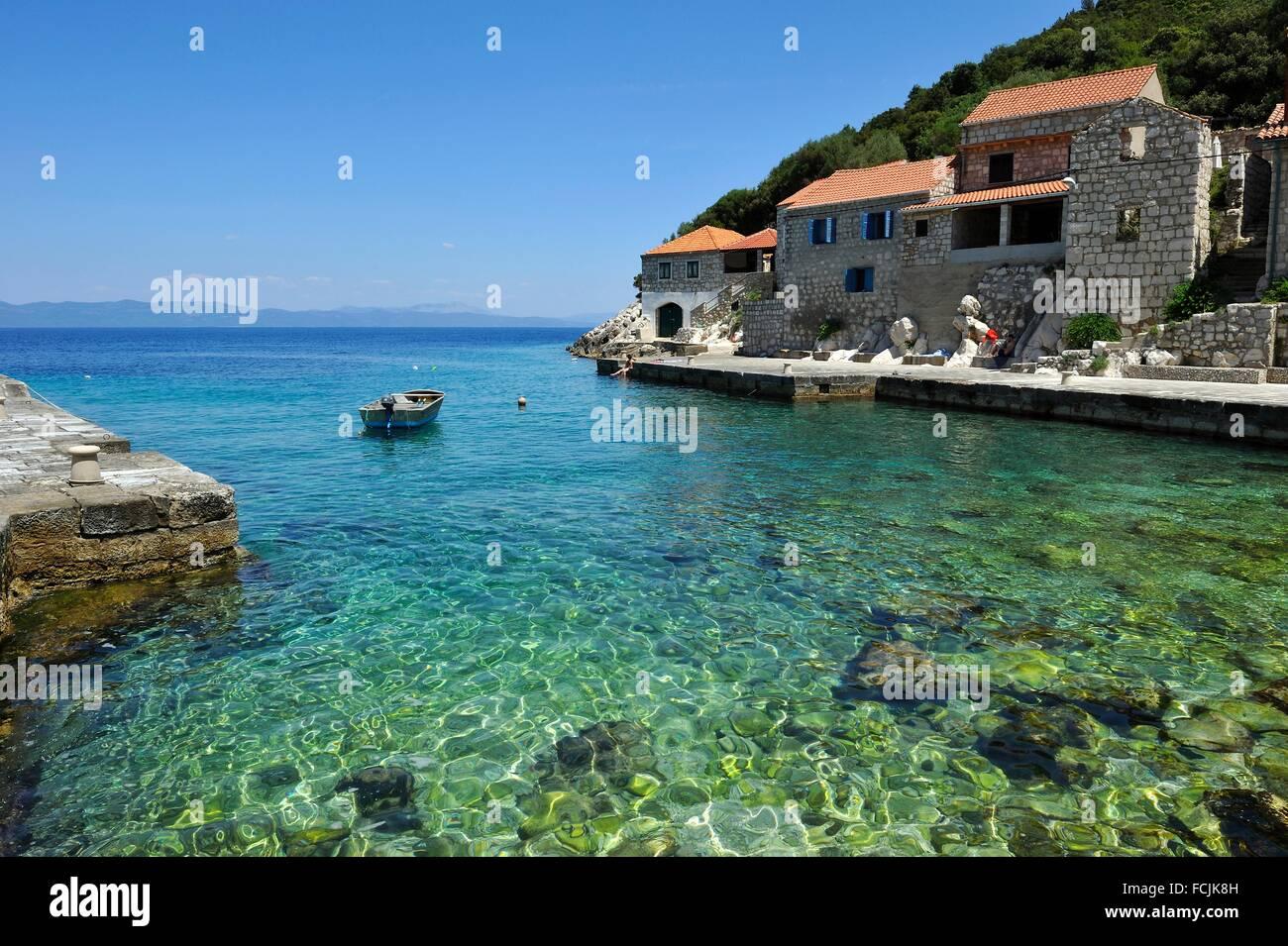 protected historic site of Lucica, a former fishermen settlement near Lastovo town, Lastovo island, Croatia, Southeast - Stock Image