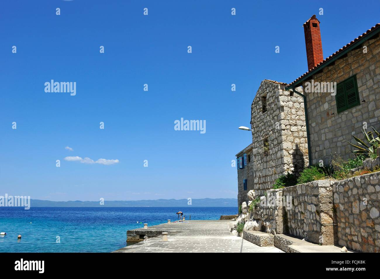 protected historic site of Lucica, a former fishermen settlement near Lastovo town, Lastovo island, Croatia, Southeast - Stock Image