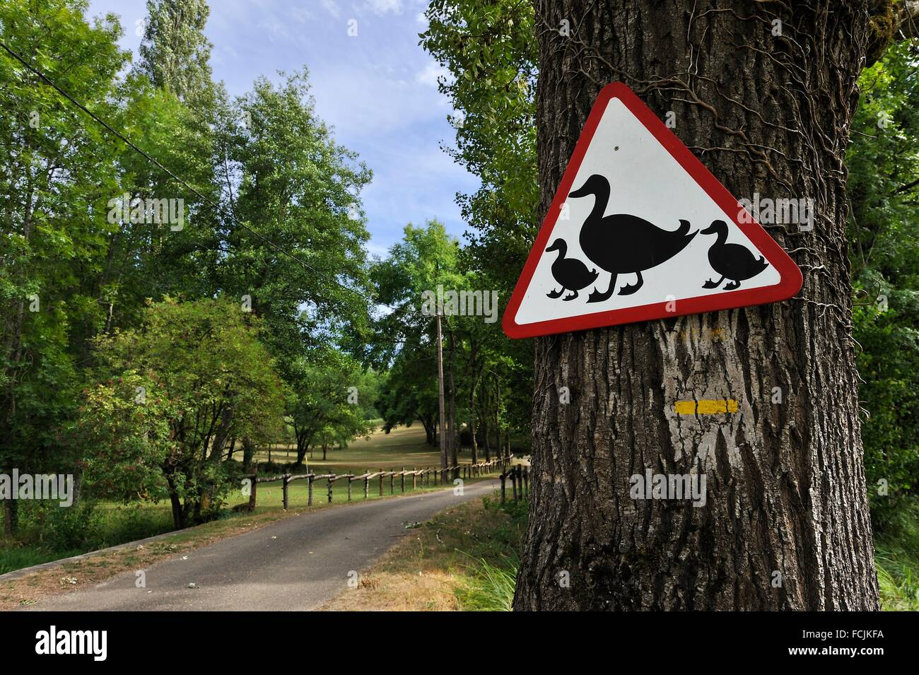 unusual road sign, Lot department, region of Midi-Pyrenees, southwest of France, Europe. - Stock Image