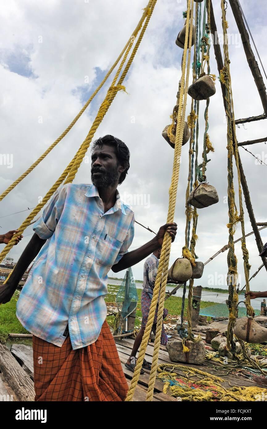 Chinese fishing net, Fort Kochi, Kochi or Cochin, Kerala state, South India, Asia. Stock Photo