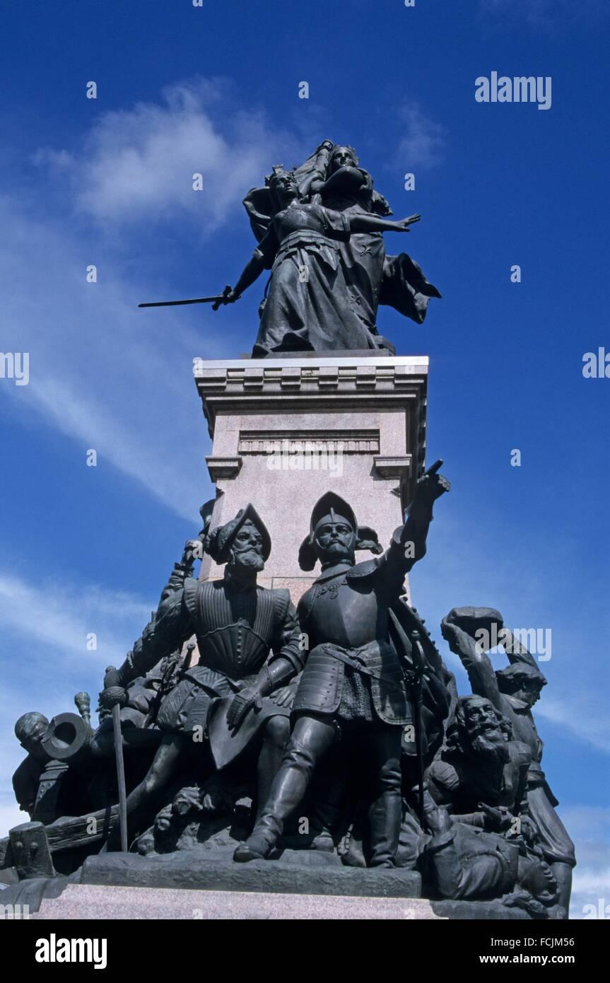 Monument a la Defense de 1557, 8 octobre Square, Saint-Quentin, Aisne department, Picardy region, northern France, - Stock Image