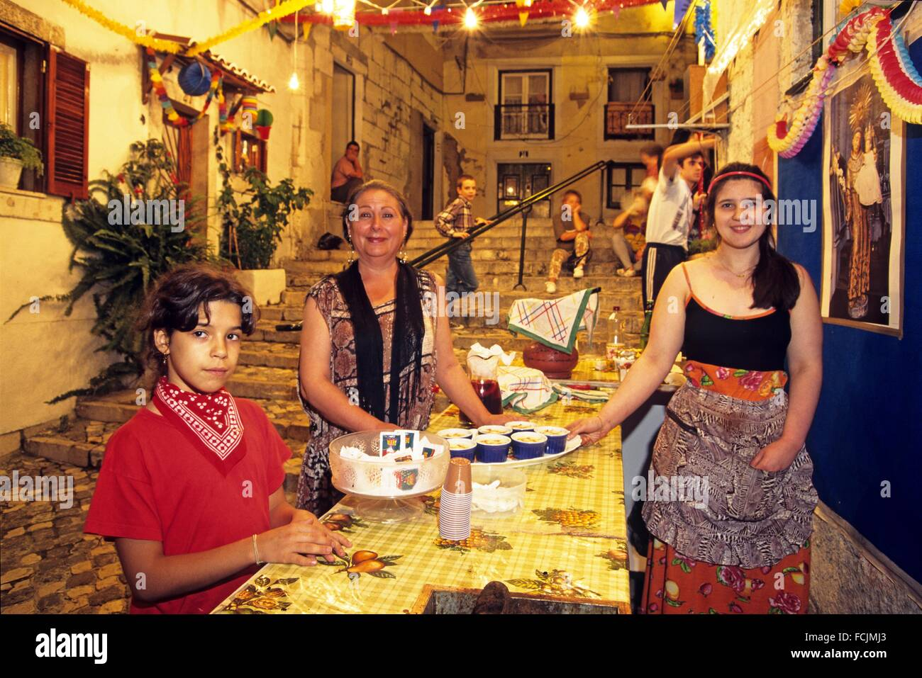 Arroz doce sweet rice, Santo Antonio festivities in Alfama neighbourhood, Lisbon, Portugal, Southern Europe. - Stock Image
