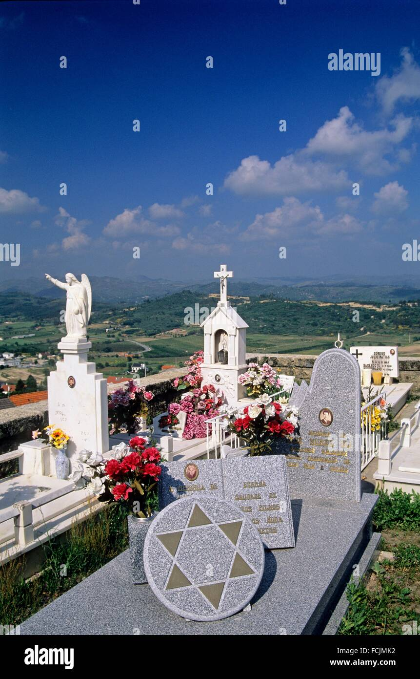 cemetery of Belmonte, birthplace of Pedro Alvares Cabral 1467-1520, famous Portuguese navigator and explorer, Portugal, - Stock Image