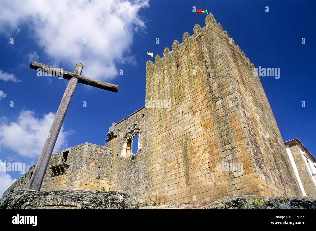 Castle of Belmonte, birthplace of Pedro Alvares Cabral 1467-1520, famous Portuguese navigator and explorer, Portugal, - Stock Image
