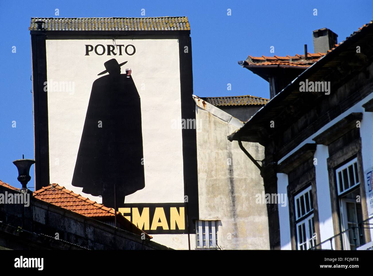 old hand-painted advertising signage for Sandeman Wine Porto, Porto, Portugal, Southern Europe. - Stock Image