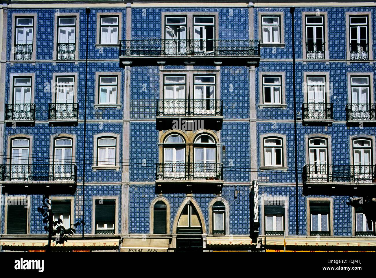 facade covered by glazed tiles, Lisbon, Portugal, Southern Europe. - Stock Image