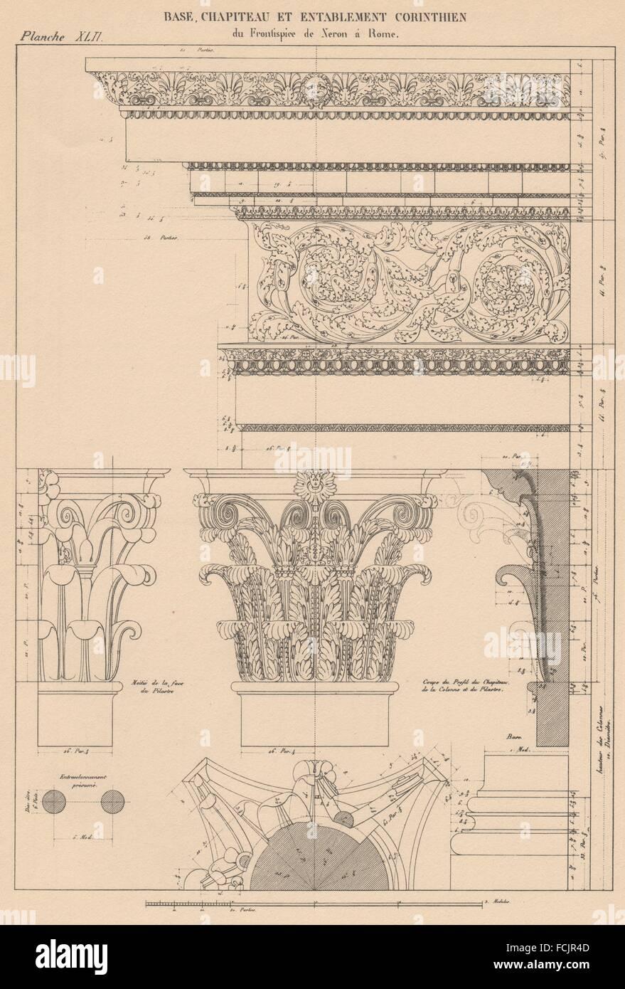 CORINTHIAN ARCHITECTURE: Frontispiece, Nero, Rome. Base Capital Entablature 1931 - Stock Image