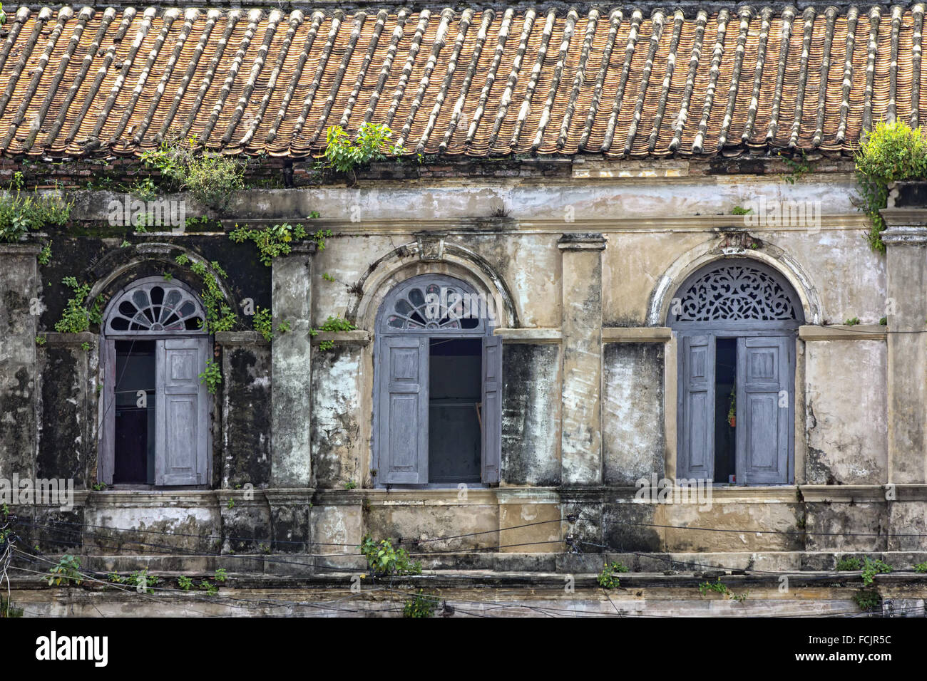 Windows in the Old Customs House, Bangkok - Stock Image