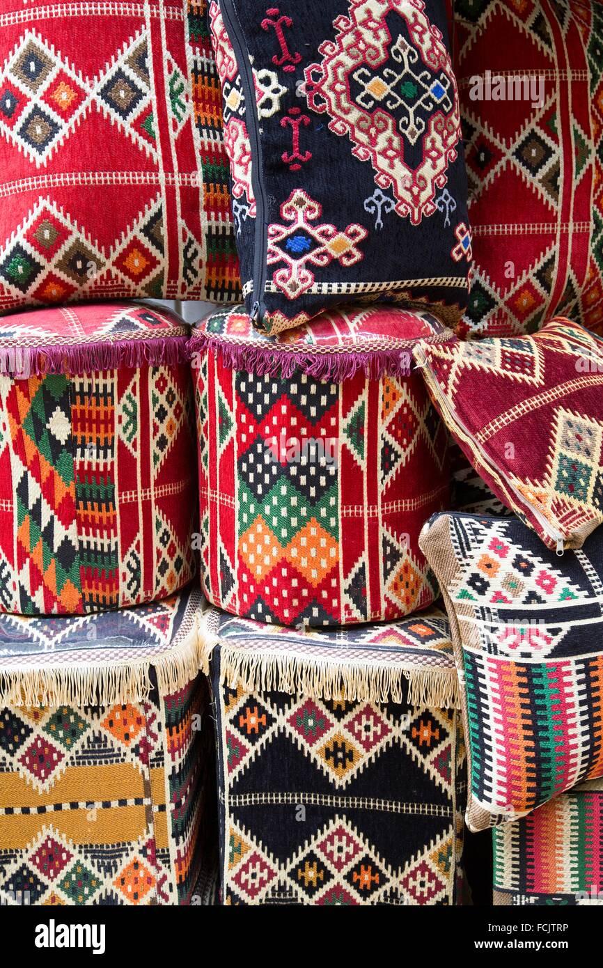 Pillows and Ottomans for Sale, Khan Al-Khali Bazaar, Cairo, Egypt Stock Photo