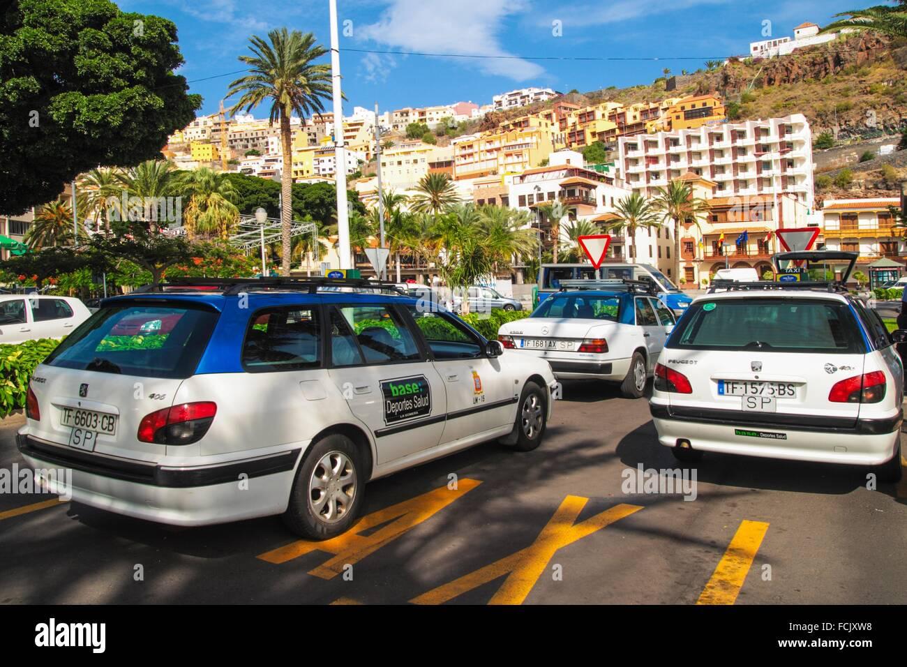 stationary Taxis in San Sebastian de La Gomera. Canary islands. - Stock Image
