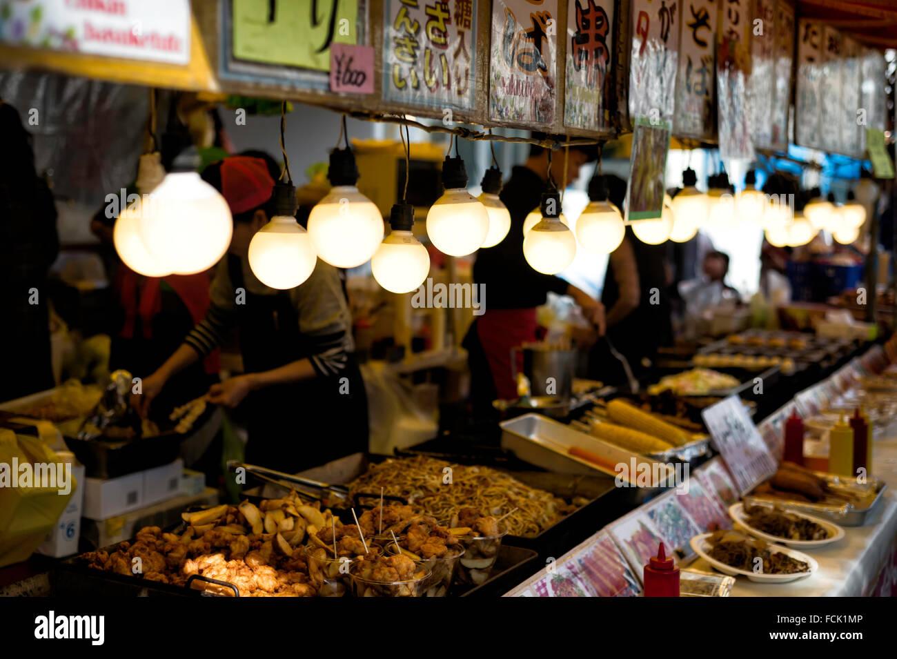 Okinawan Festival Food Booth - Stock Image